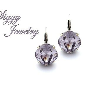 Swarovski Smoky Mauve Earrings, 12mm Cushion Cut